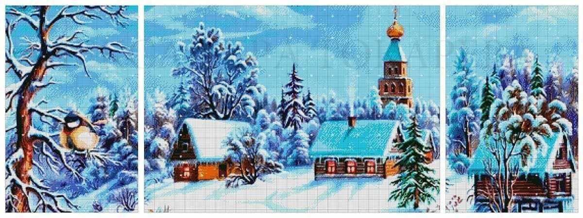 44-3737-НЗТ Зимняя сказка триптих - набор для вышивания (А. Токарева)