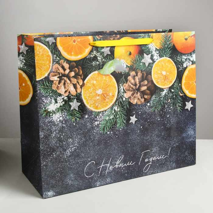 4262289 Пакет подарочный ламинированный горизонтальный «Мандарины»