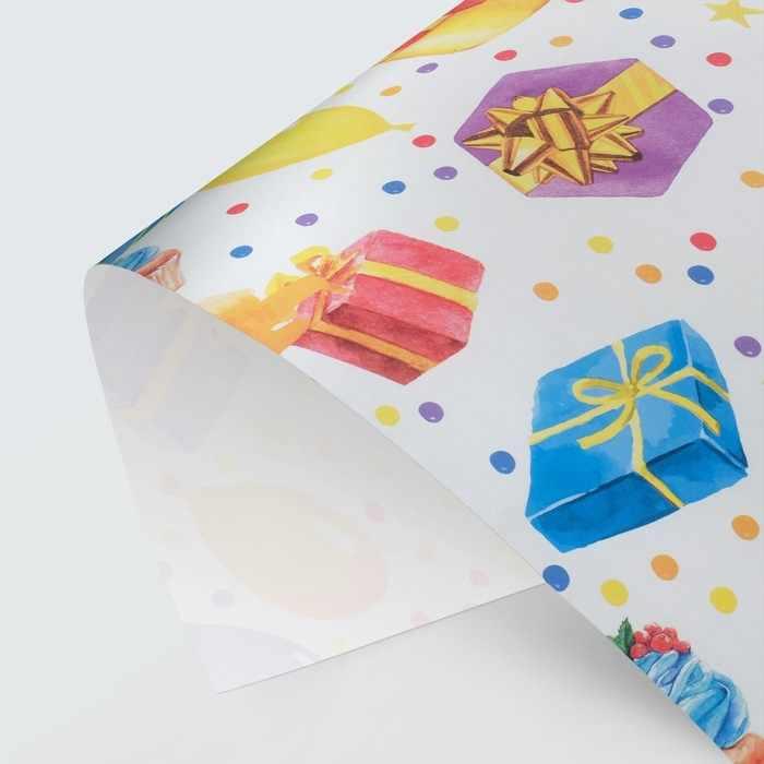4488906 Бумага упаковочная крафтовая «С Днём рождения»