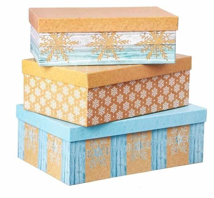 3580127 Набор подарочных коробок 3 в 1 «Зимние узоры»