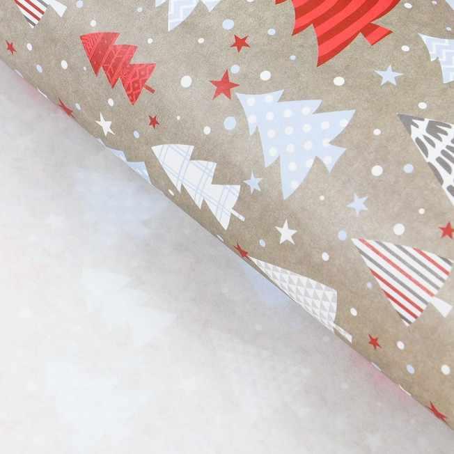 4471611 Бумага упаковочная крафтовая «Новогодний узор»