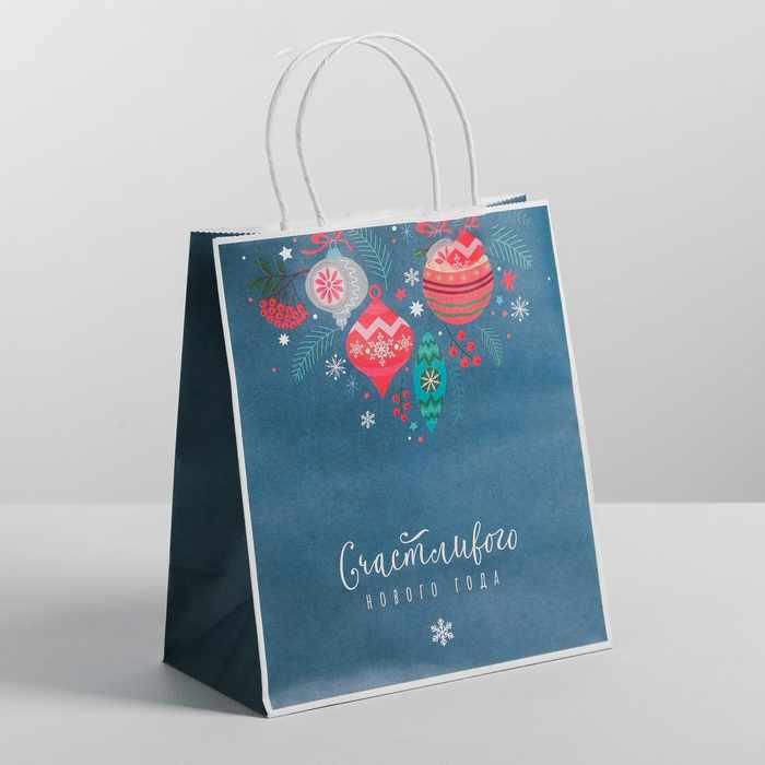 4320170 Пакет подарочный крафт «Счастливого нового года»