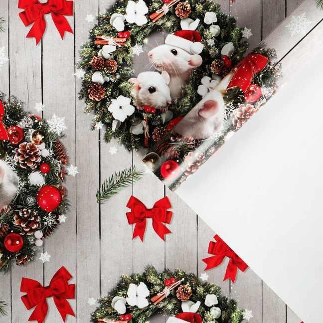 4472811 Бумага упаковочная глянцевая «Всё исполнит Новый год»