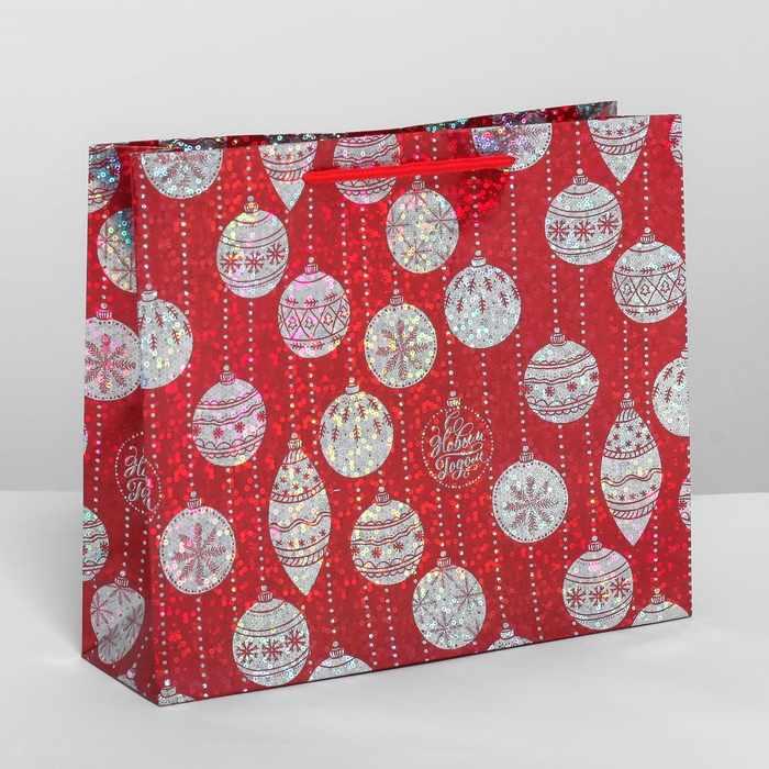 4205708 Пакет подарочный голография горизонтальный «Ёлочные шары»