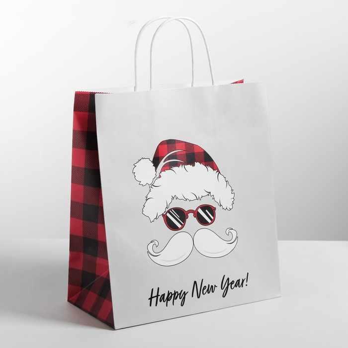 4320182 Пакет подарочный крафт Happy new year