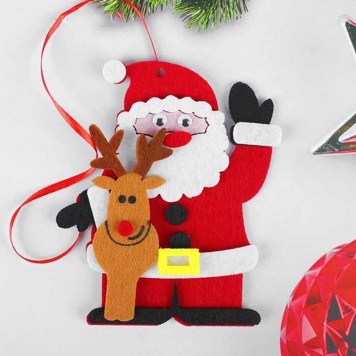 """4298796 Набор для творчества - создай елочное украшение из фетра """"Дед мороз с оленем"""""""