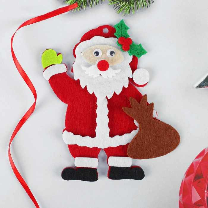 """4298794 Набор для творчества - создай елочное украшение из фетра """"Дед мороз с мешком подарков"""""""