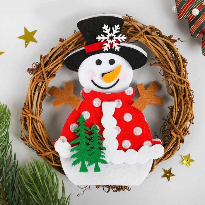 """3555024 Набор для творчества - создай новогоднее украшение """"Венок - снеговик с елочками"""""""