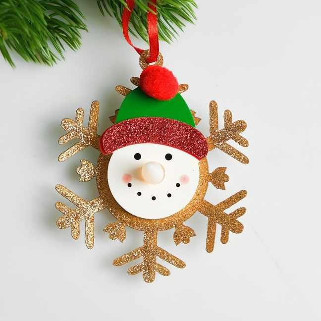 """4331532 Набор для создания новогодней подвески со светом """"Снеговик в шапочке"""""""