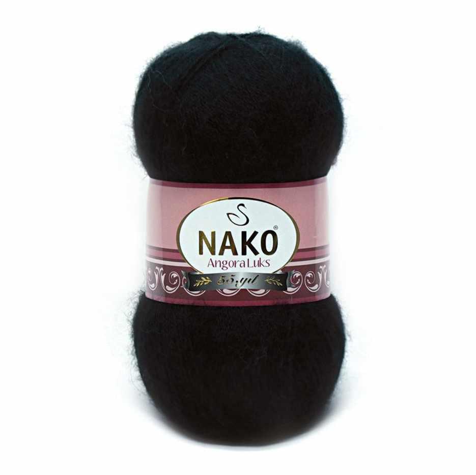Пряжа Nako Angora Luks Цвет.00217 Черный