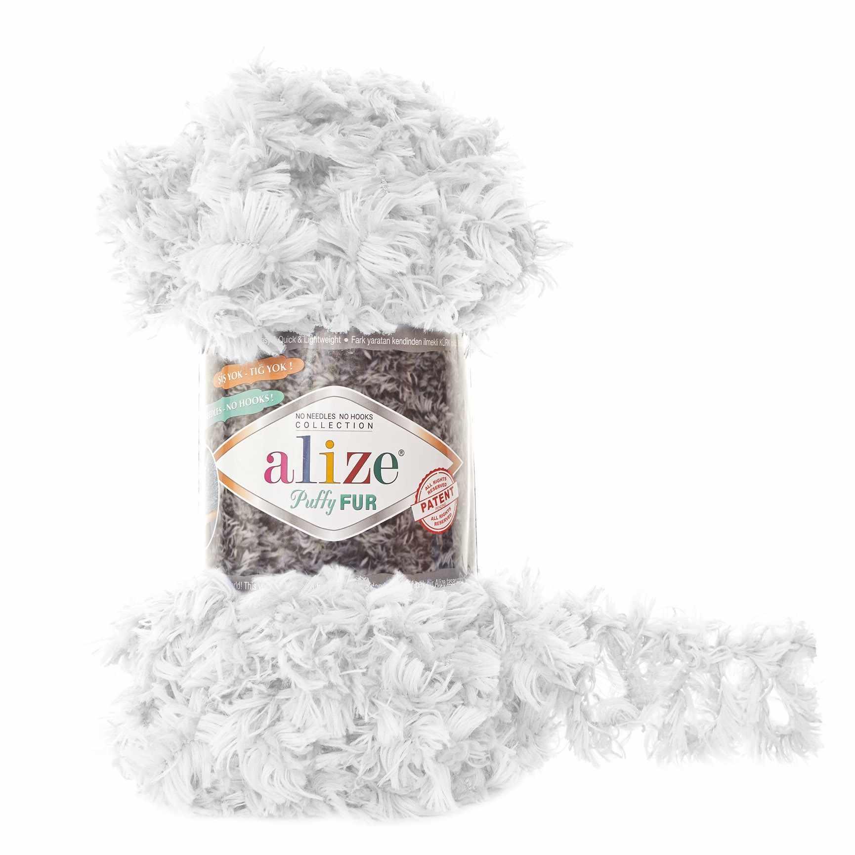 Пряжа Alize Puffy Fur Цвет.6100 Отбелка