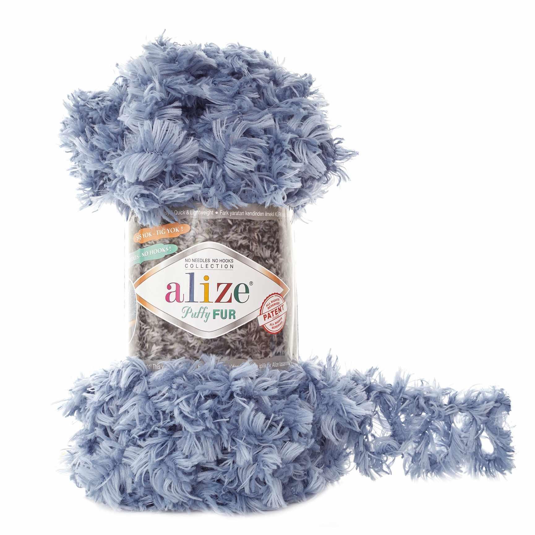 Пряжа Alize Puffy Fur Цвет.6106 Голубой