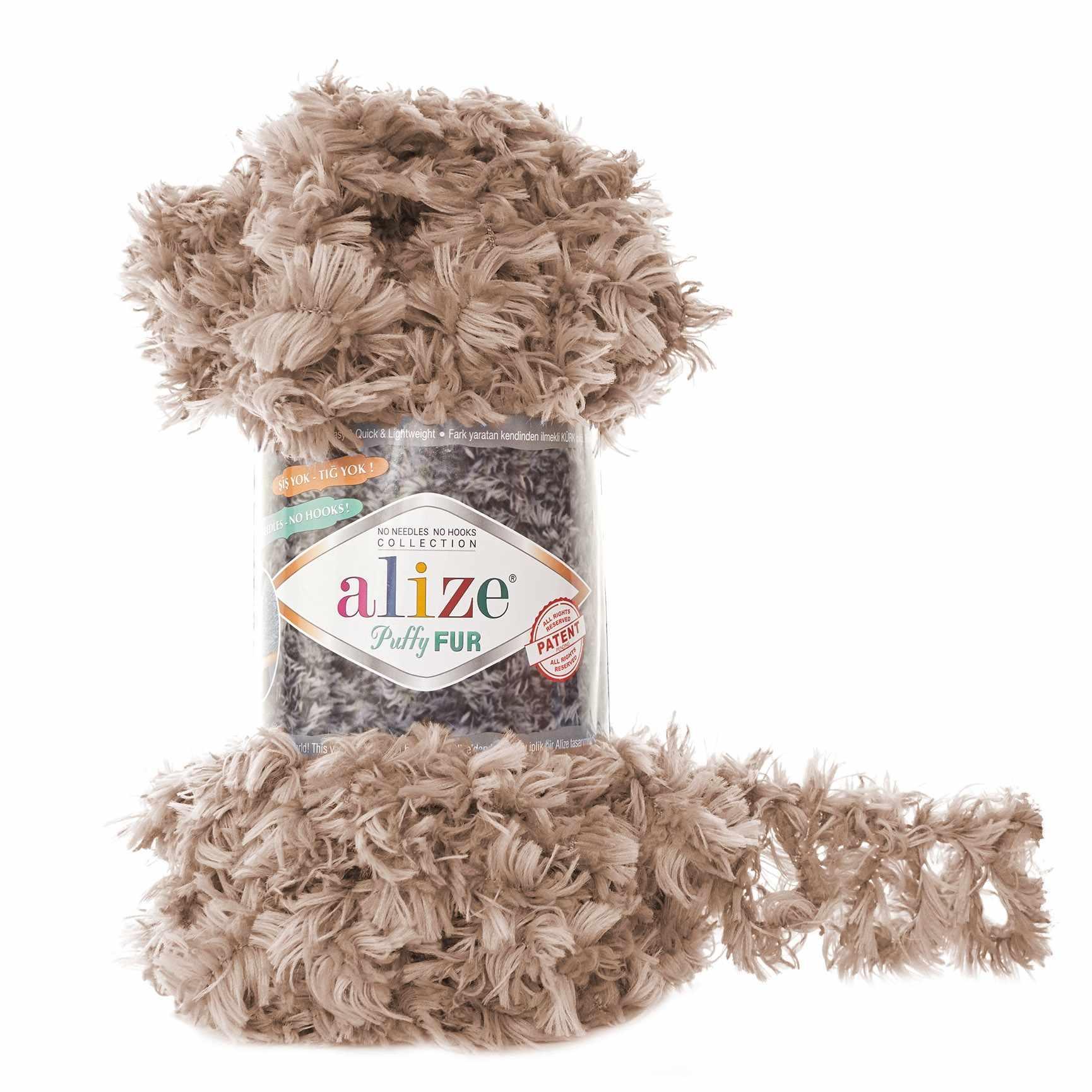 Пряжа Alize Puffy Fur Цвет.6104 Бежевы