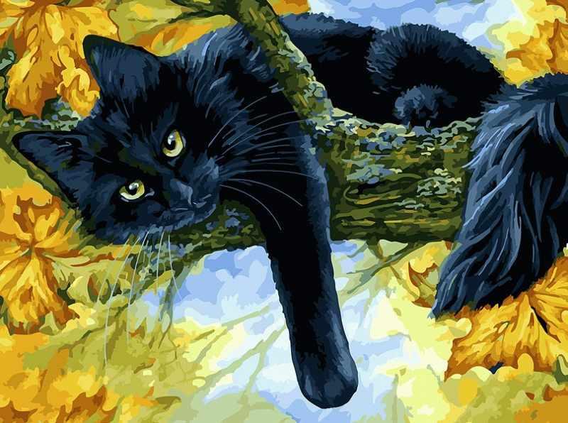 296-AS Осенний кот (Белоснежка)