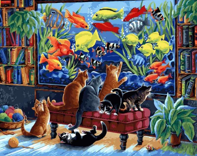 231-AB Коты и рыбки (Белоснежка)