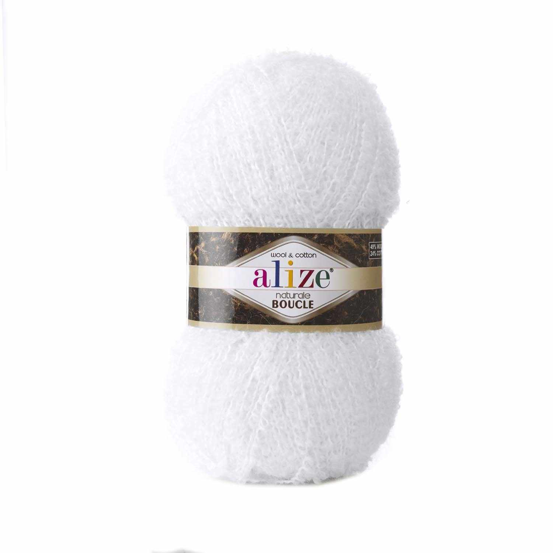 Пряжа Alize Naturale Boucle Цвет.55 Белый