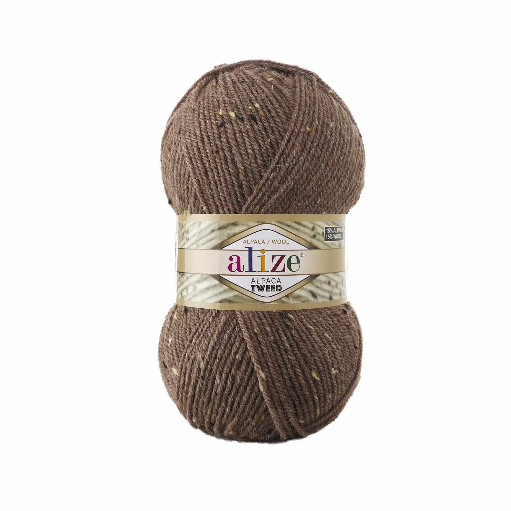 Пряжа Alize Alpaca Tweed Цвет.688 Кофе с молоком