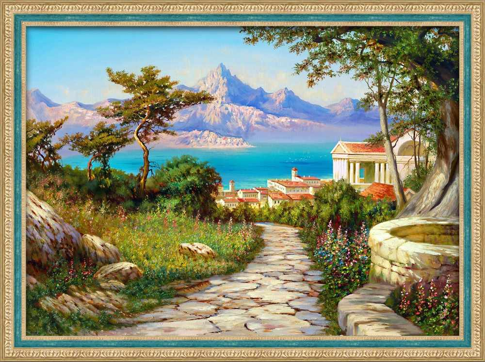 Алмазная вышивка Город у моря (АЖ-1816) - картина стразами