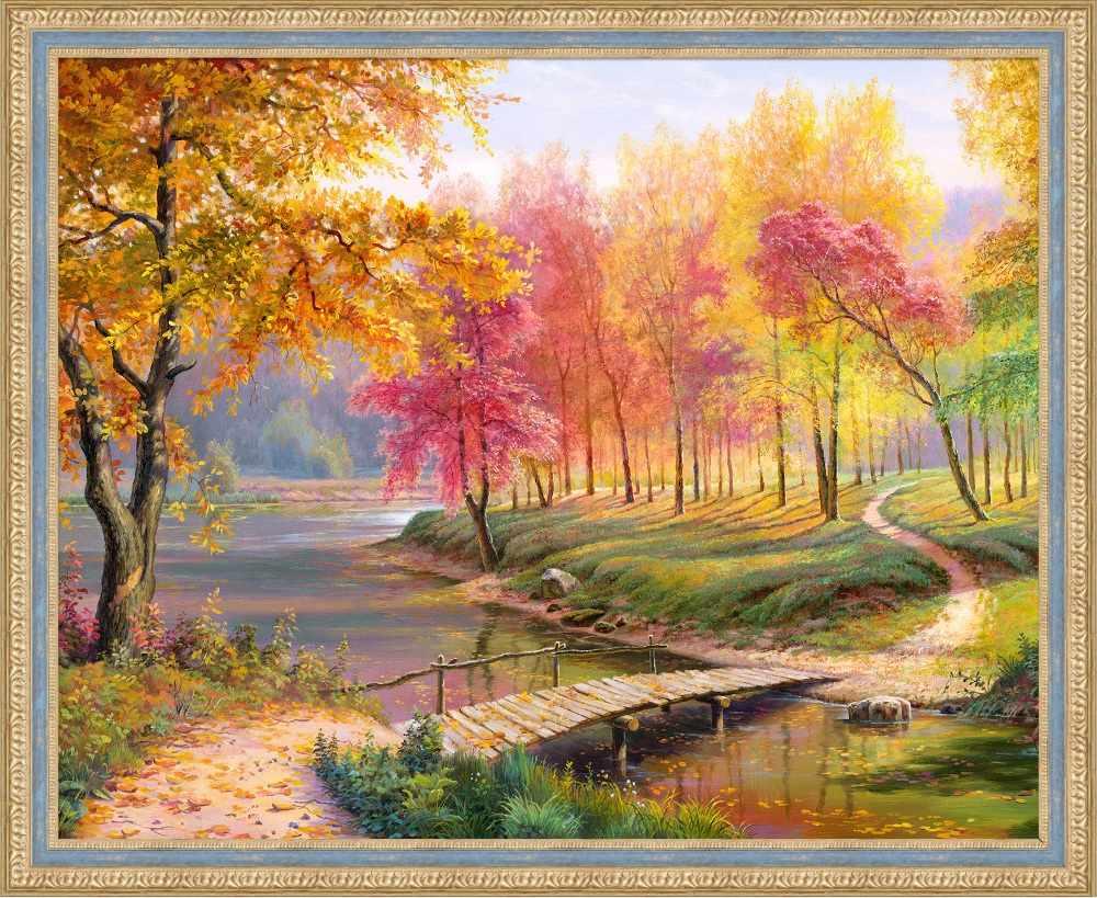 Алмазная вышивка Осень в старом парке (АЖ-1822) - картина стразами