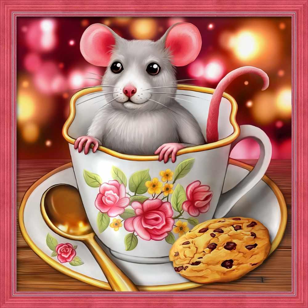Алмазная вышивка Крысенок в чашке (АЖ-1813) - картина стразами