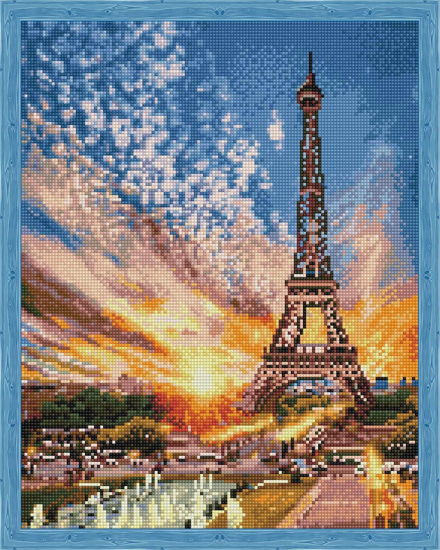 Алмазная вышивка QA202805 «Эйфелева башня на закате»