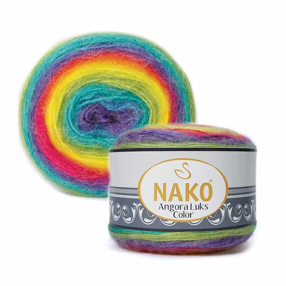 Пряжа Nako Angora Luks color Цвет.81920 Фиолетово желтый