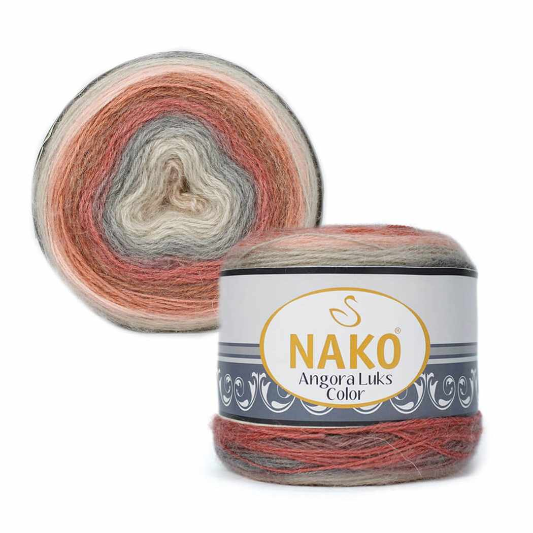 Пряжа Nako Angora Luks color Цвет.81913 Красно серый