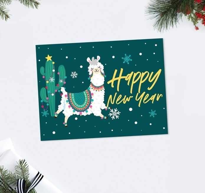 4419121 Открытка-комплимент Happy New Year лама, 8 × 6 см