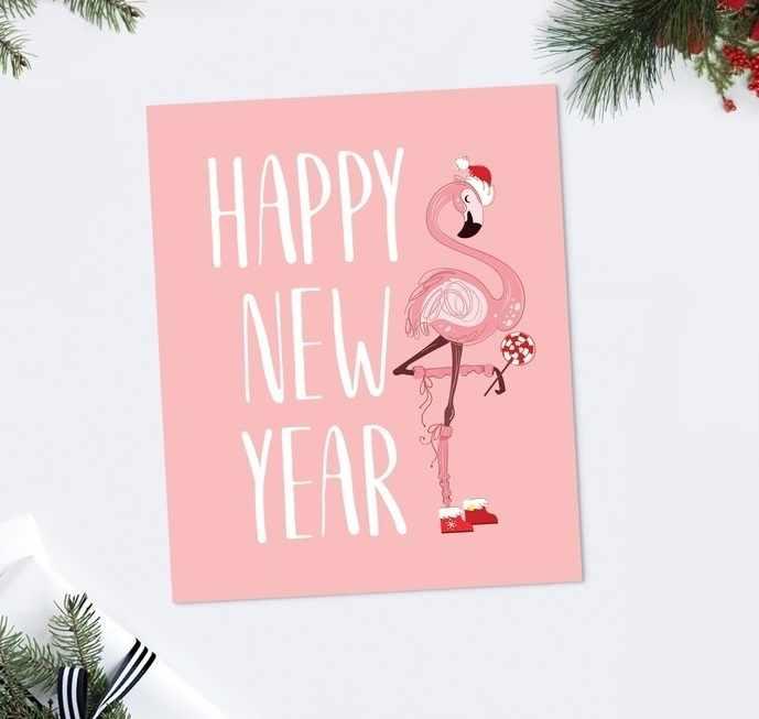 4419108 Открытка-карточка Happy New Year фламинго, 8.8 × 10.7 см