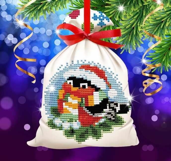 """2147940 Новогодняя вышивка крестиком на мешочке """"Снегирь"""", основа 25*35 см"""