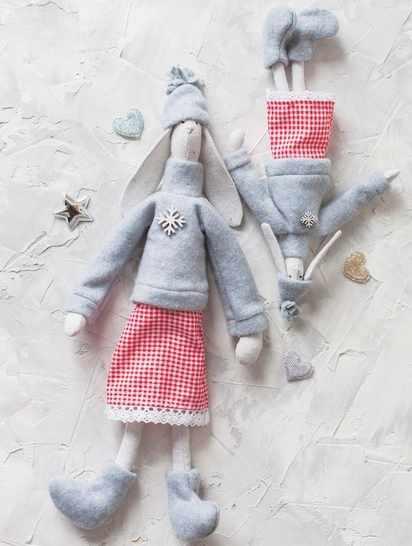 4263009 Мягкие куклы «Новогодние зайки Бетти и Летти», набор для шитья