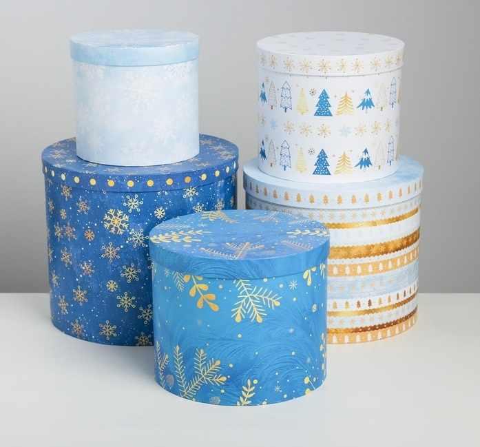 4348612 Набор подарочных коробок 5 в 1 «Чудесные снежинки»