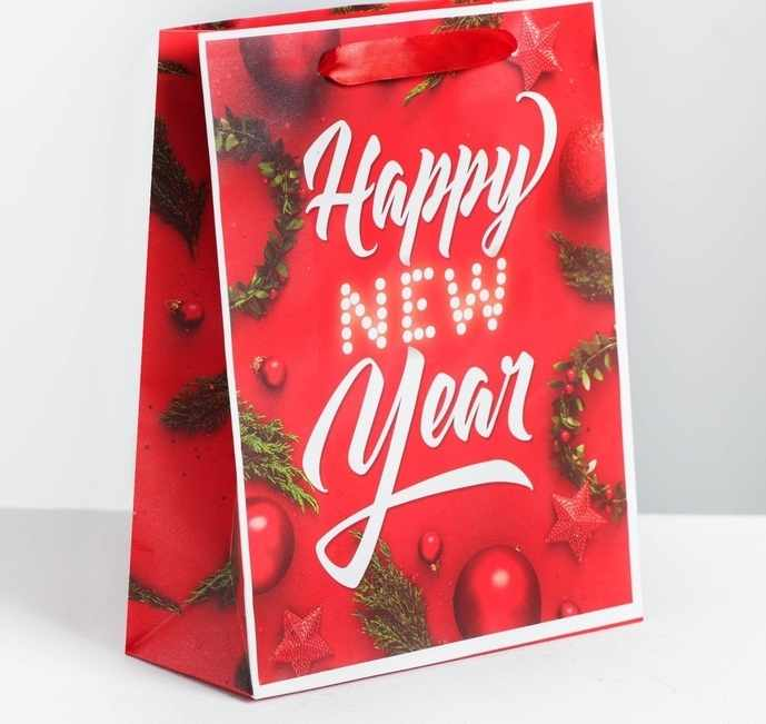 4262277 Пакет ламинированный вертикальный Happy New Year, MS 18 x 23 × 8 см