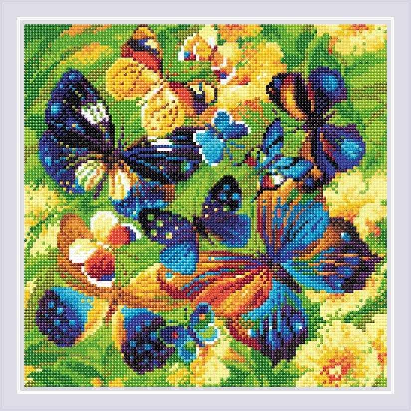 "Алмазная вышивка АМ0038 ""Яркие бабочки"""