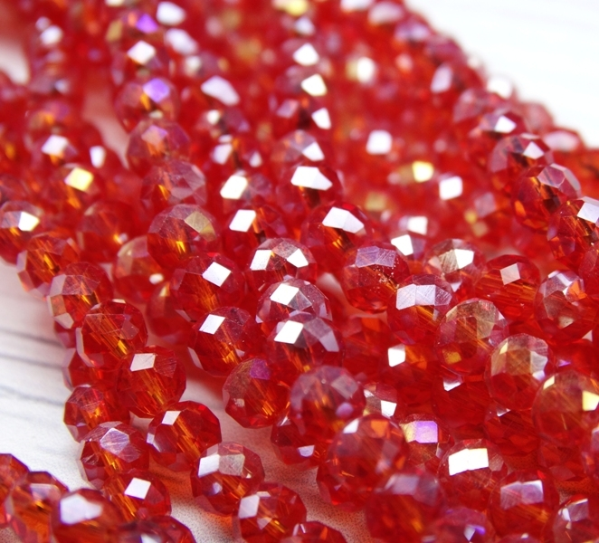 БП008ДС34 Хрустальные бусины Ярко-красный прозрачный (с покрытием) 3х4 мм