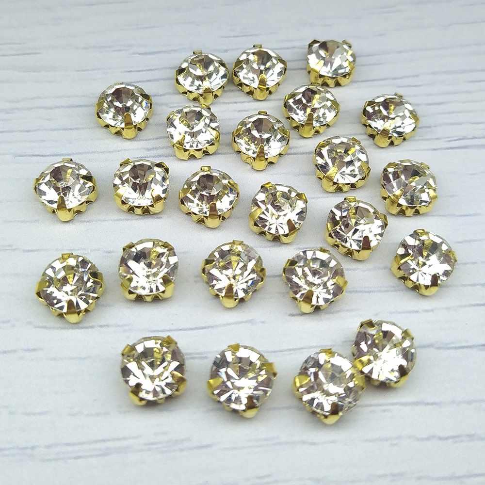 ЗЦ001НН88 Хрустальные стразы в металлических цапах (золото) Белые 8 мм 15 шт./упак.