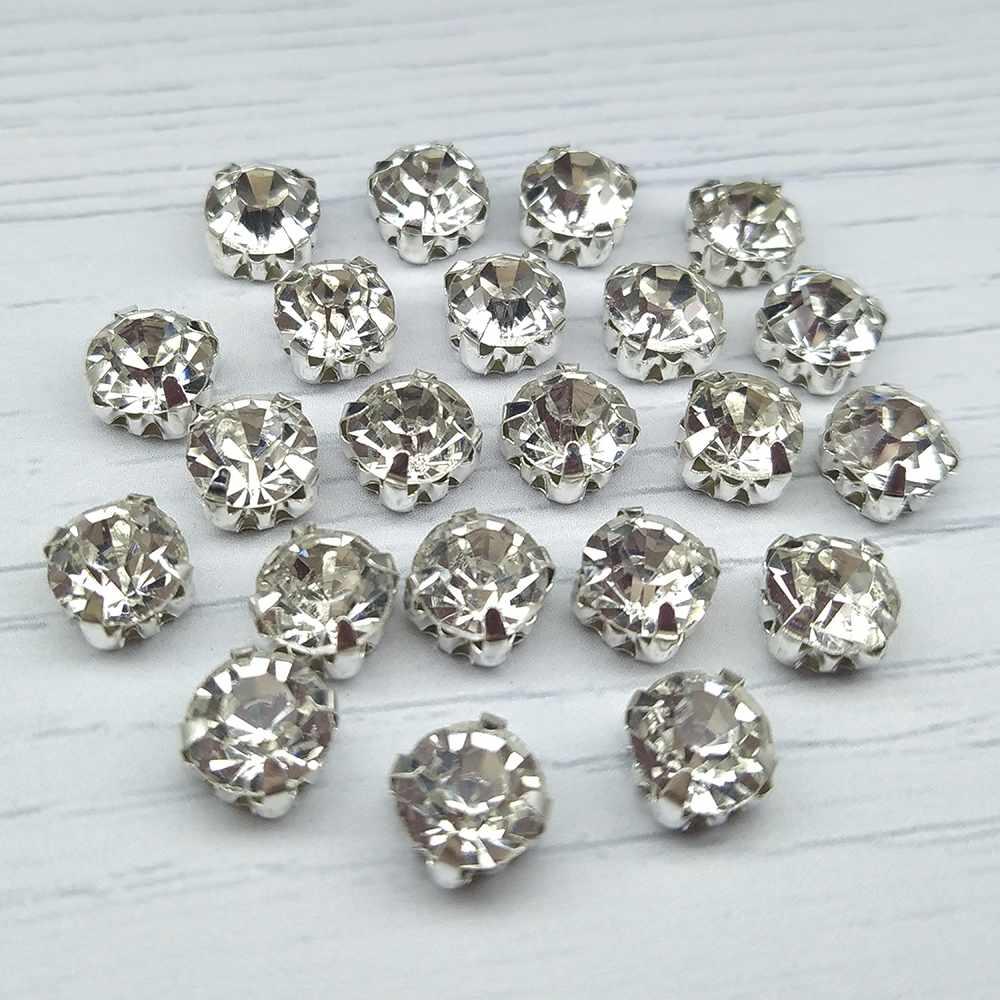 СЦ001НН88 Хрустальные стразы в металлических цапах (серебро) Белые 8 мм 15 шт./упак.