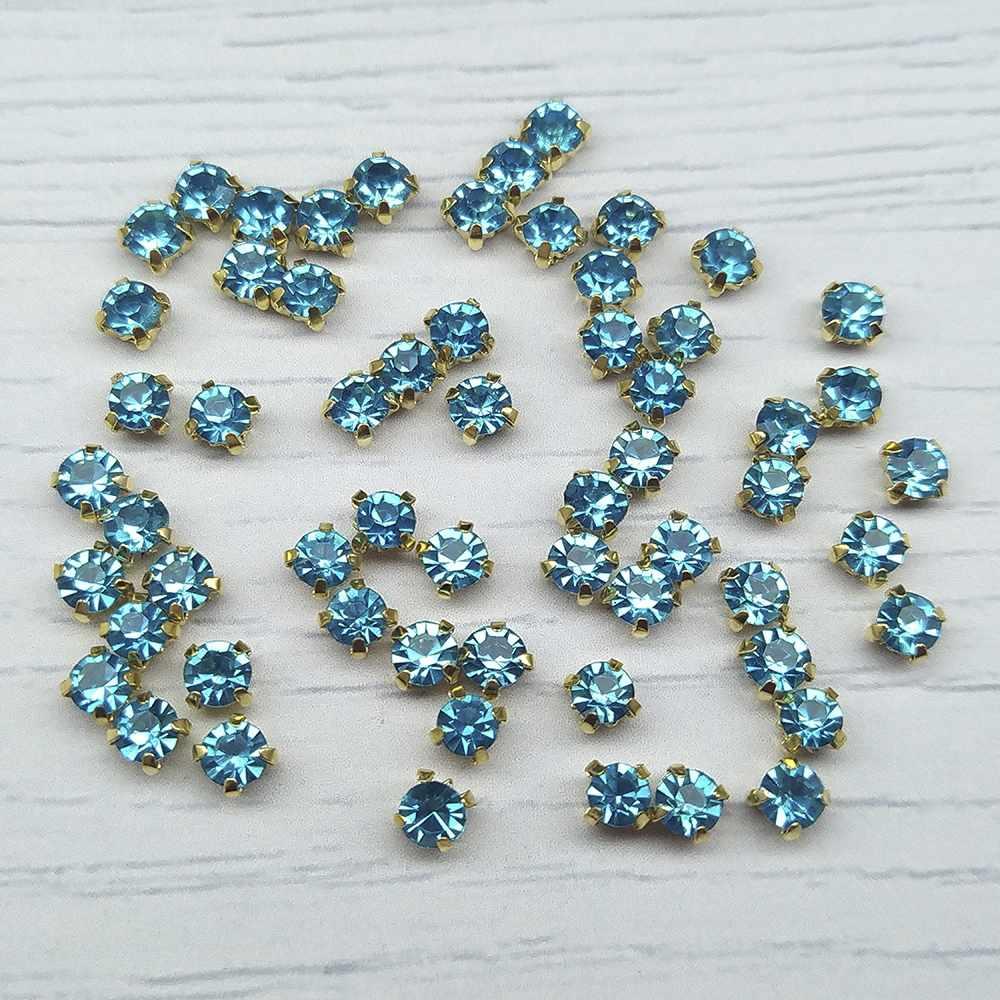 ЗЦ004НН44 Хрустальные стразы в металлических цапах (Золото) Ярко-голубой 4х4 мм 29-30 шт./упак