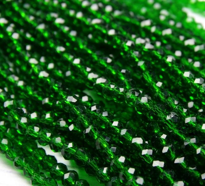 БП022НН23 Хрустальные бусины Темно-зеленый прозрачный 2х3 мм
