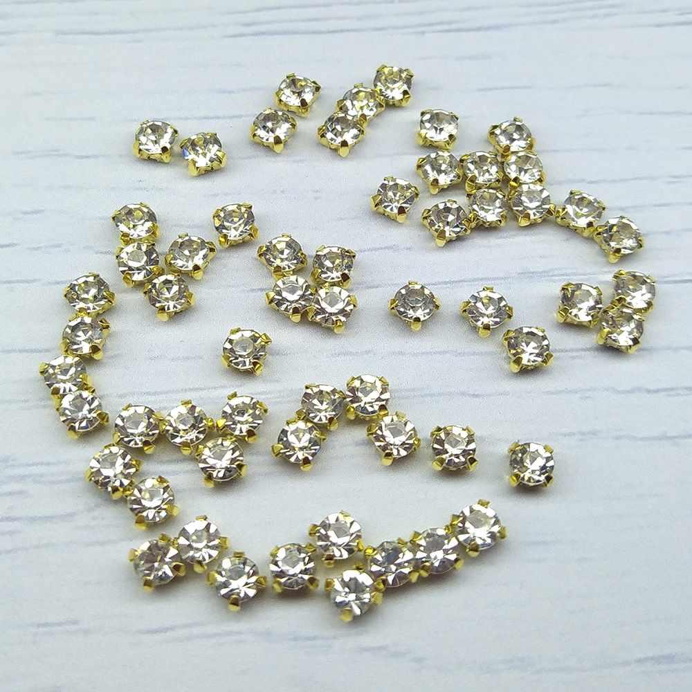 ЗЦ001НН44 Хрустальные стразы в металлических цапах (золото) Белые 4 мм 45-50 шт./упак