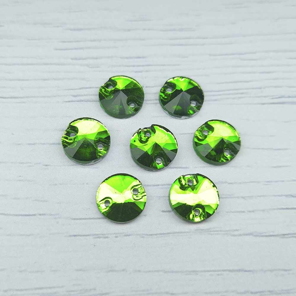 РИ003НН10 Хрустальные стразы Зеленый (без покрытия) 10 мм, 10 шт.