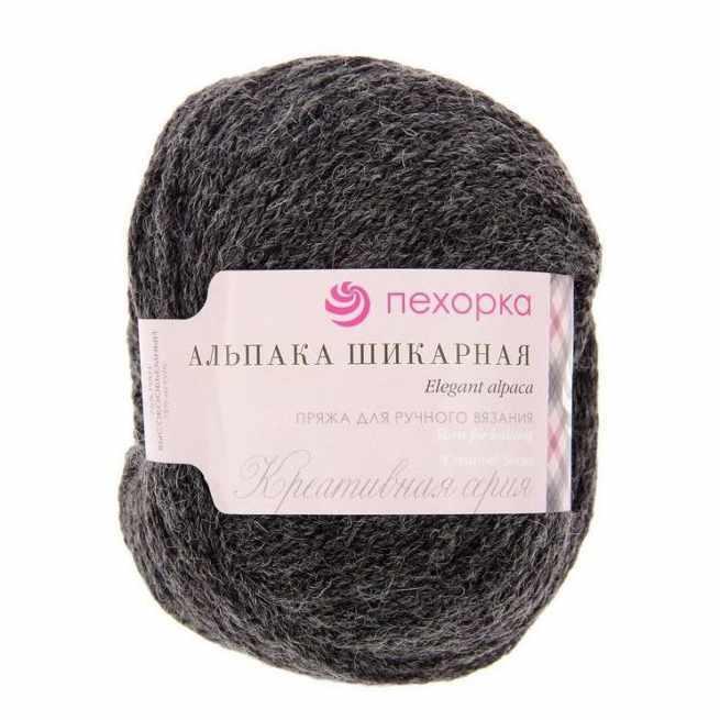 Пряжа Пехорка Альпака шикарная Цвет.435 Антрацит