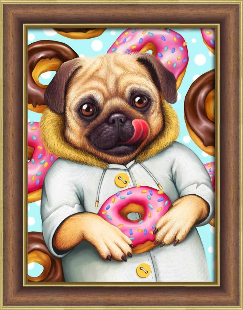Алмазная вышивка Мопс и пончики (АЖ-1802) - картина стразами