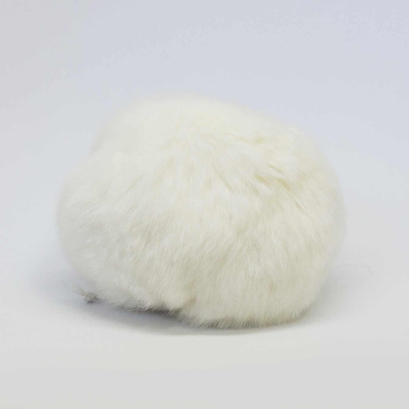 Помпон D9 мех кролик (рекс) Цвет.01 Натуральный белый