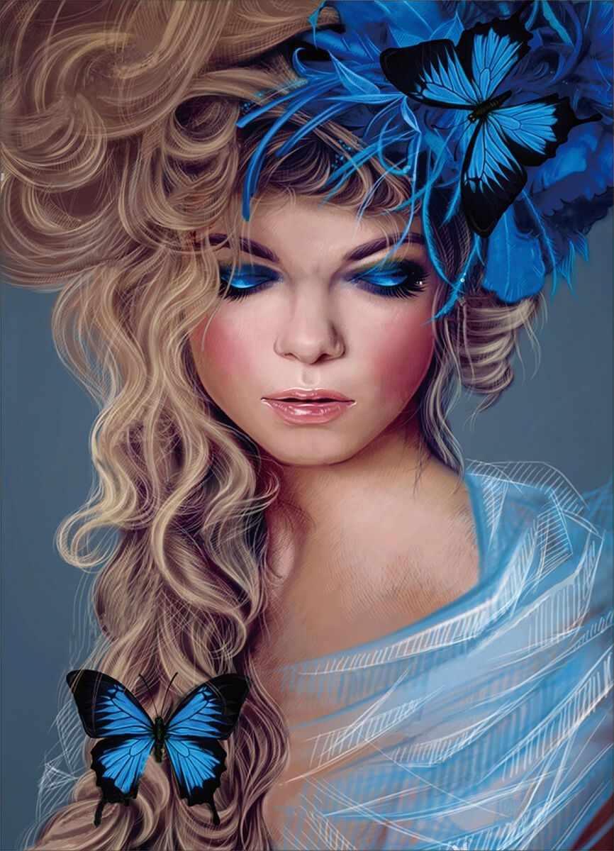 """Алмазная вышивка le109 """"Бабочки в волосах"""""""
