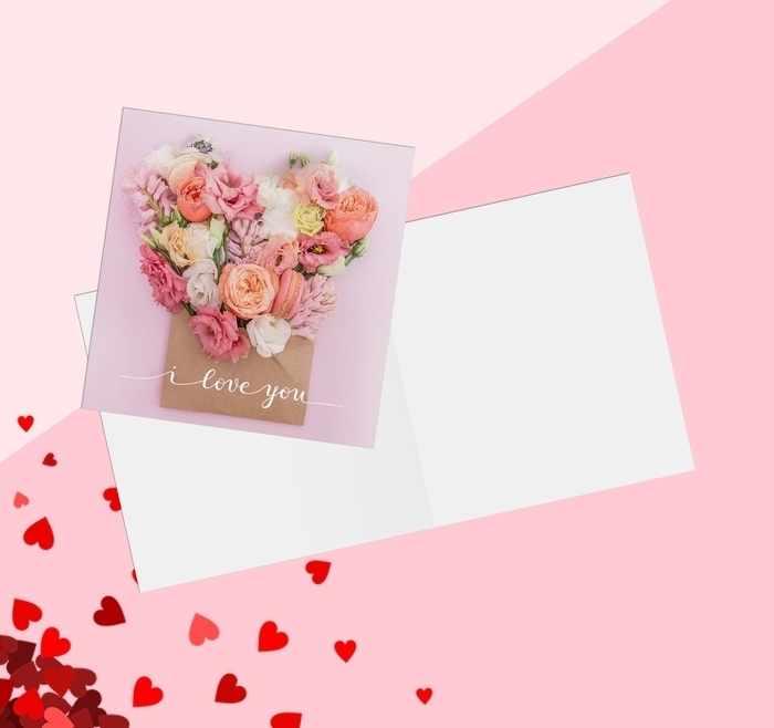 3775599 Открытка‒мини «С Днём Влюбленных», цветы нежные, 7 × 7 см