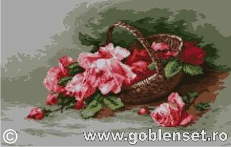 1109 Cos cu trandafiri roz