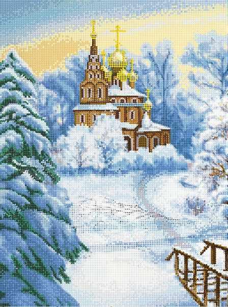 """Алмазная вышивка БСА2-107 """"Церковь зимним утром"""""""