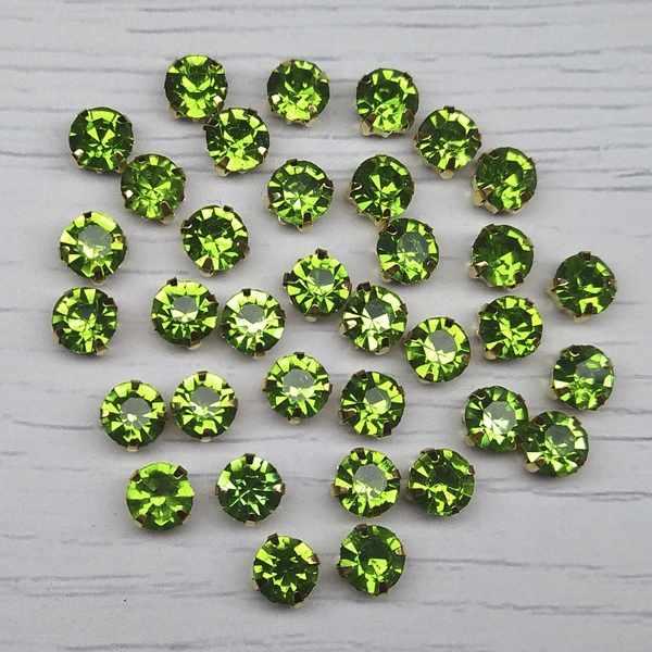 ЗЦ015НН66 Хрустальные стразы в металлических цапах (Золото) Зеленый
