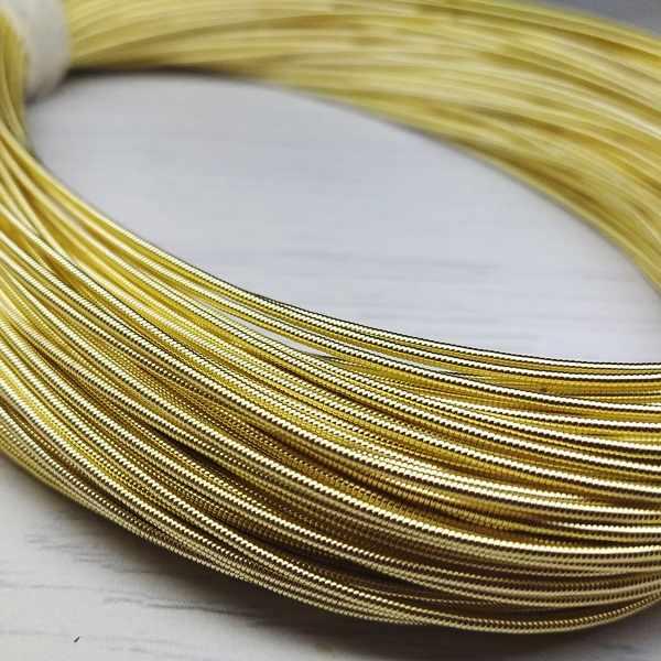 КЖ003НН12 Канитель жесткая Светлое золото 1,2 мм, 5 гр. +/- 0,1 гр.